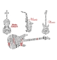 Word clouds and notes in shape of guitars violin vector image