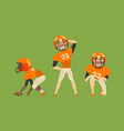 american football players set rugby players vector image vector image