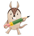 armadillo with pen on white background vector image vector image