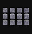 astrology signs on stone button set 12 zodiac vector image