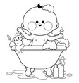 baby in a tub taking a bath vector image