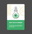 beneficial use of cannabis vertical banner with vector image vector image