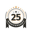 birtday vintage logo template to 25 th anniversary vector image vector image