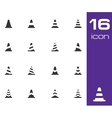 black traffic cone icons set vector image