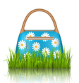 Blue woman spring bag with chamomiles flowers in vector image vector image