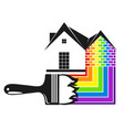brush with colored paint and house vector image vector image