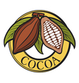 Cacao - cocoa beans label vector image