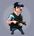 cartoon man in uniform police officer vector image vector image