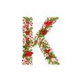 christmas floral tree letter K vector image vector image