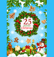 christmas holly wreath with new year gifts banner vector image vector image