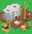 construction site isometric composition vector image vector image
