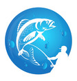 fisherman draws fish silhouette vector image vector image