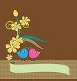 floral background with love birds image vector image