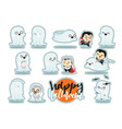 Funny cartoon schoolboy character and ghosts vector image