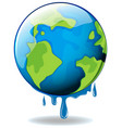 global warming with earth melting vector image vector image