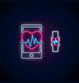glowing neon sign of healthy mobile app heart vector image