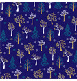 gold glitter winter tree pattern on blue vector image vector image