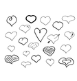 Hand-drawn doodle hearts vector image