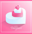 happy valentine day pink love heart icon vector image vector image
