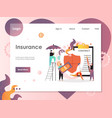 insurance website landing page design vector image vector image