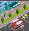 isometric hospital neighbourhood composition vector image vector image