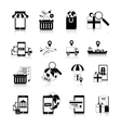 M-commerce Black White Icons Set vector image vector image