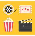 Movie reel Open clapper board Popcorn Ticket vector image vector image