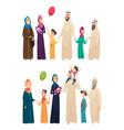 muslim family big arabic happy family saudi vector image vector image
