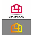 Number 4 logo logotype design with house vector image vector image