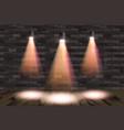 old retro three lamp on grunge brick wall vector image vector image