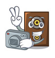 photographer speaker mascot cartoon style vector image