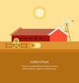 Rural Farm Landscape Red Farm Barn Flat Style vector image