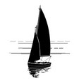 sailing boat silhouette on waves vector image