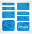 set blue pop art elements grunge banners vector image