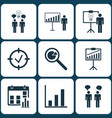 set of 9 management icons includes project vector image