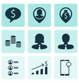 set of 9 management icons includes successful vector image vector image