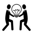 silhouette person standing idea bulb vector image