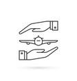 simple thin line flight insurance icon vector image