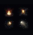 sparks fire set sparkler petard weld or firework vector image