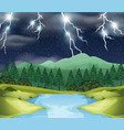 storm night nature scene vector image vector image
