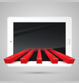 tablet and red arrows vector image vector image