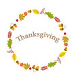 thanksgiving round wreath of autumn leaves on a vector image