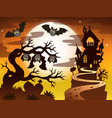 theme with halloween silhouette 2 vector image