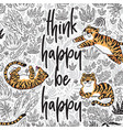 think happy be happy quote contour tropical vector image vector image