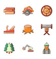 timber product icons set cartoon style vector image vector image
