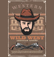 wild west western bandit saloon and pistol guns vector image vector image