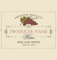 wine label with bunch of grapes in retro style vector image