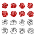 Set of the roses flowers silhouettes isolated on vector image