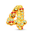 a set of emoticons shaped as four number vector image