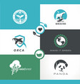 abstract logo collection with wild animals vector image vector image